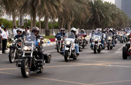 DUBAI - UAE - APRIL 06 2012: Members of Dubai Eagle Group with their Bikes during the March For Peace event organized by Dubai Islamic Department and Govt. of Dubai on April 06 2012 in Zabeel, Dubai. Editorial