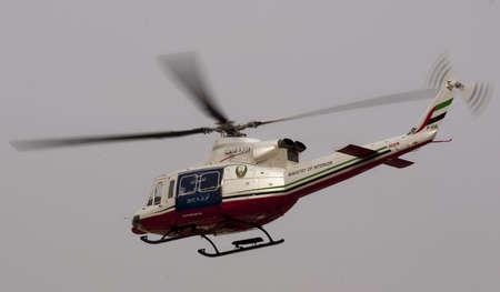 DUBAI - UAE - APRIL 06 2012: A chopper from Ministry of Interior, Dubai during the