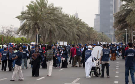 DUBAI - UAE - APRIL 06 2012: March For Peace crowd  during the March For Peace event organized by Dubai Islamic Department and Govt. of Dubai on April 06 2012 in Zabeel, Dubai.