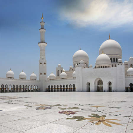 The exterior and front view of world famous landmark Sultan Sheikh Zayed Mosque in Abu Dhabi, UAE  Considered as 8th largest mosque in the world    Editorial