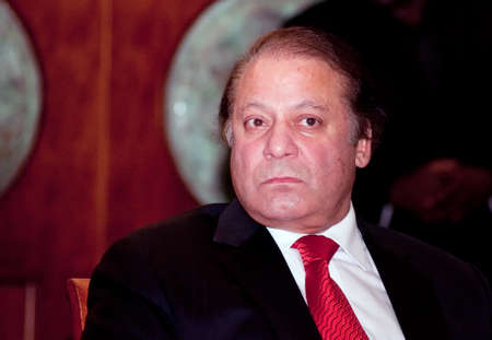 DUBAI - UAE - June 06 2012: Nawaz Sharif the current Prime Minister of Pakistan, during the Press Conference in Atlantis Hotel, on June 06 2012, Dubai.  Editorial