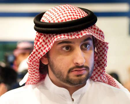 DUBAI - UAE - APRIL 12 2012: Sheikh Maktoum Bin Mohammed Bin Rashid Al Maktoum, Deputy ruler of Dubai during Islamic Peace Conference, on April 12 in Dubai Editorial