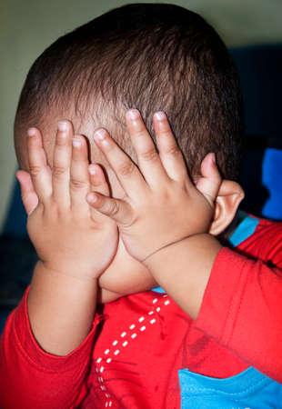 Annoyed kid gesture to stop