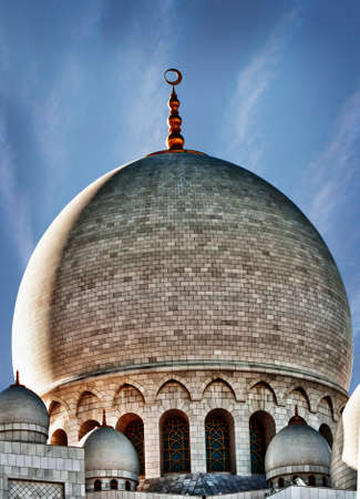 Huge dome of Sheikh Zayed Mosque in Abu Dhabi in HDR effect