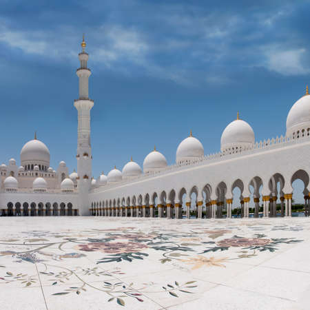 The exterior and side view of world famous landmark Sultan Sheikh Zayed Mosque in Abu Dhabi, UAE. Considered as 8th largest mosque in the world.