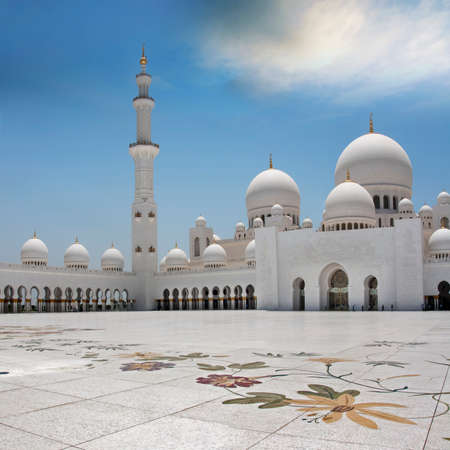 The exterior and front view of world famous landmark Sultan Sheikh Zayed Mosque in Abu Dhabi, UAE. Considered as 8th largest mosque in the world.