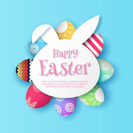 Happy Easter, with paper rabbit bunny shape frame. 3d easter egg on soft blue background. vector illustration. Illustration