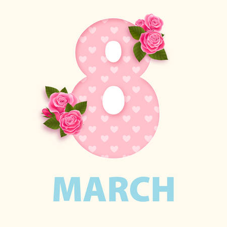 Women's day 8 march design with roses pink flower. Vector design