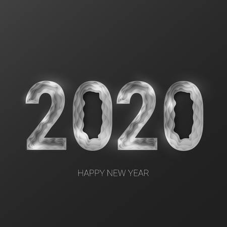 Happy new year 2020. Creative 3d abstract paper cut vector illustration. Platinum silver color on black background