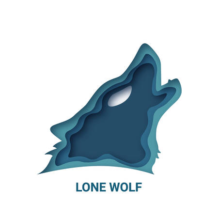 Lone Wolf, 3d abstract paper cut vector design. Origami paper art style Illustration