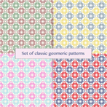 one color: Set of classic seamless elegant geometric patterns in different colors. Vector art. Repeating and editable vector illustration file. Can be used for prints, textiles, website blogs etc.