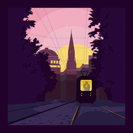 touristic: Tram with kissing couple on the street of picturesque touristic city at dawn. Vector illustration with organized layers.