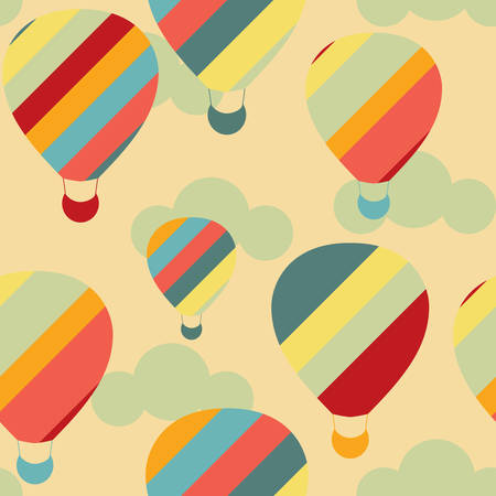jorney: Vector illustration of colorful hot air balloons on the sky. Seamless pattern. Illustration