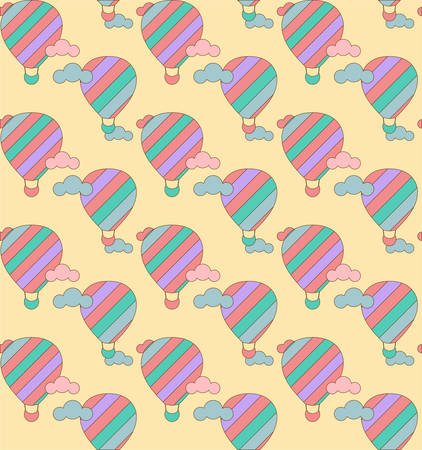 jorney: illustration of colorful hot air balloons on the sky. Seamless pattern.