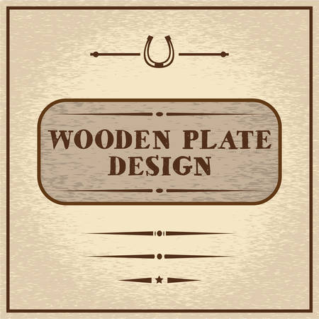 posting: Old styled wooden plate with mini set of decorative elements, wild west theme
