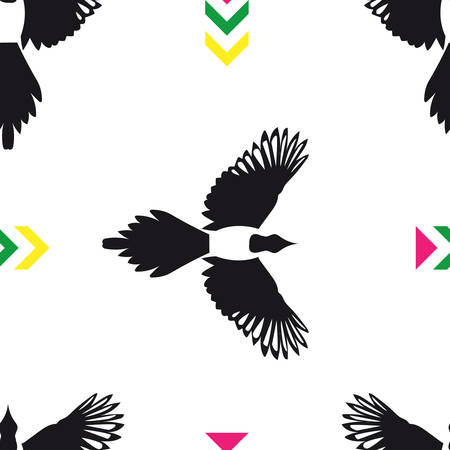 magpie: Seamless pattern with flying magpie