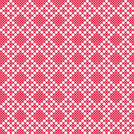 punto cruz: ornamento ruso tradicional en colores rojo y blanco. Vector patr�n de punto de cruz, bordado patr�n sin fisuras. dise�o de punto de cruz costura decorativa. Vectores