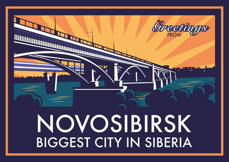 Vintage touristic greeting card - Novosibirsk, Russia. Shows old bridge across Ob river and the world's longest metro bridge in the background. Vector eps10 with layers. Illustration