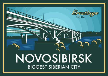 longest: Vintage touristic greeting card - Novosibirsk, Russia. Shows old bridge across Ob river and the world's longest metro bridge in the background. Vector eps10 with layers. Illustration