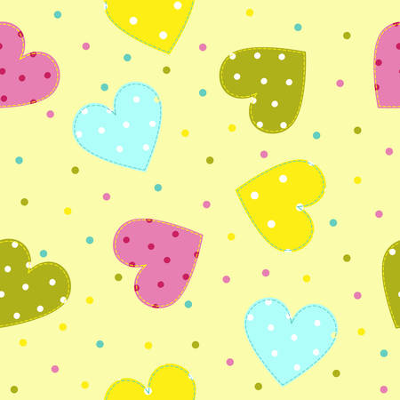 stitched: Seamless patchwork pattern with stitched hearts