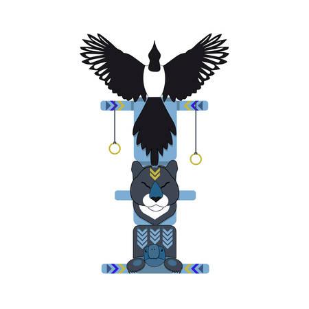 Farbige nordindische totem pole, Vektor-Illustration. Magpie Totem.