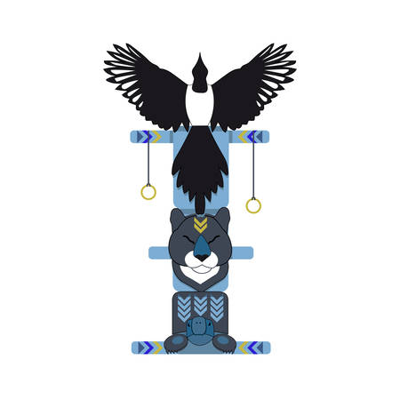 magpie: Colored north indian totem pole, vector illustration. Magpie totem. Illustration