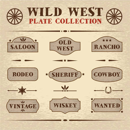 old styled: Old styled wooden plate set, wild west theme