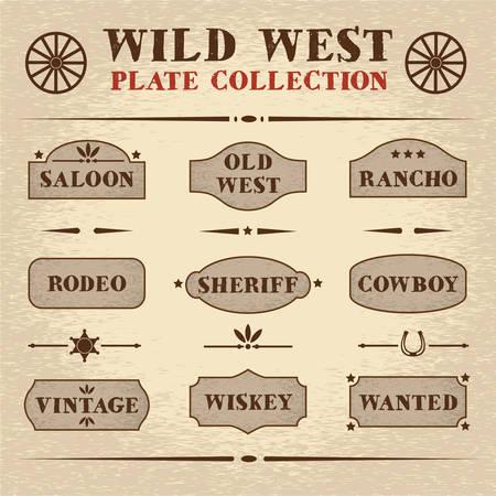 Viejo estilo de juego de placas de madera, el tema del salvaje oeste