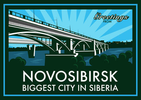 longest: Vintage touristic greeting card - Novosibirsk, Russia. Shows old bridge across Ob river and the world�s longest metro bridge in the background. Vector eps10 with layers. Illustration