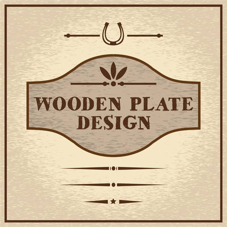 weathered wood: Old styled wooden plate with mini set of decorative elements, wild west theme