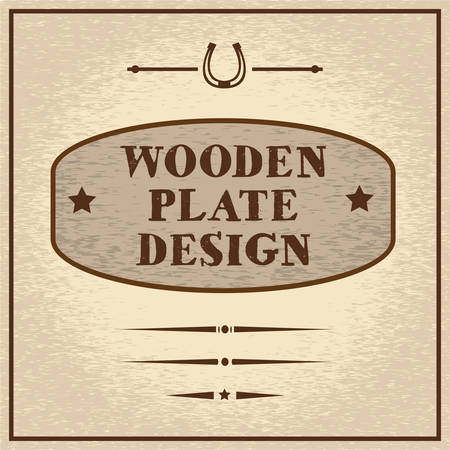old west: Old styled wooden plate with mini set of decorative elements, wild west theme