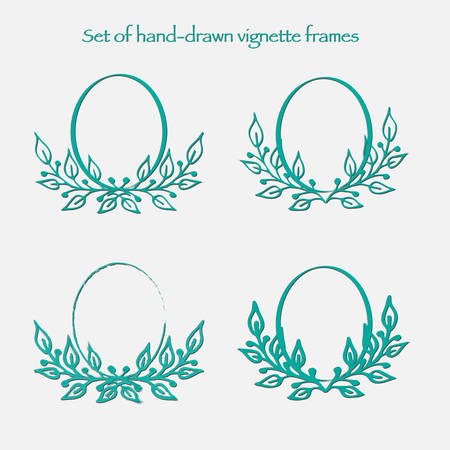 vignettes: Set of vector oval vignettes with leaves. Antique ornamental and cute photo frames for decoration and design.
