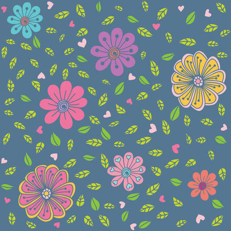 springtime: Seamless pattern with stylized hand drawn flowers and leaves on blue background Illustration