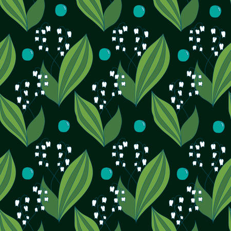 valley: Seamless spring pattern with lilies of the valley