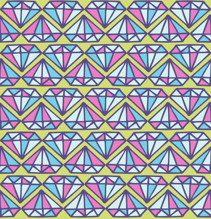 diamond stones: Vector seamless pattern with diamond stones, hand drawn look. Abstract background with colorful gemstones. Illustration