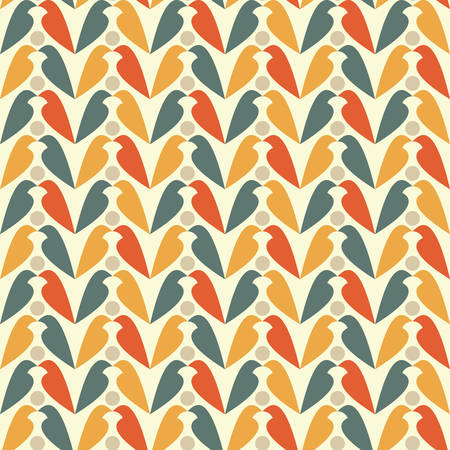 bird silhouette: Abstract seamless colored pattern with bird silhouette, retro style and palette. Vector illustration