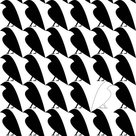 dissimilar: Seamless pattern with single white crow among black crows. Dissimilar concept. Stylized simple contour shape.