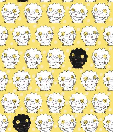 dissimilar: Seamless pattern with black sheep among white sheep. Illustration