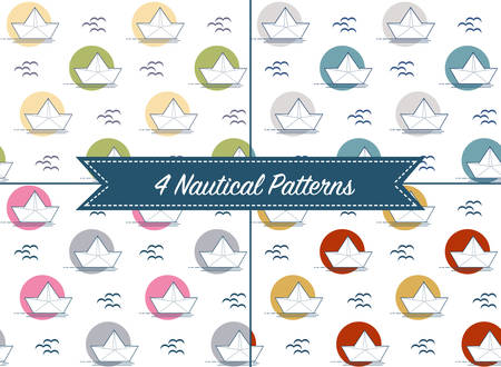 mew: Set of four patterns with origami paper boats or ships in different color palettes. Nautical theme, sea and seagull. Seamless backgrounds collection. Vector illustration.
