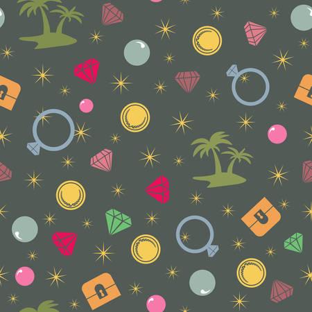 isla del tesoro: Modelo inconsútil de la isla del tesoro colorido, tema del pirata. Vector de fondo con el pecho de tesoro, isla, palmas, perlas, diamantes y monedas Vectores