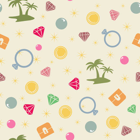treasure island: Colorful treasure island  seamless pattern, pirate theme.