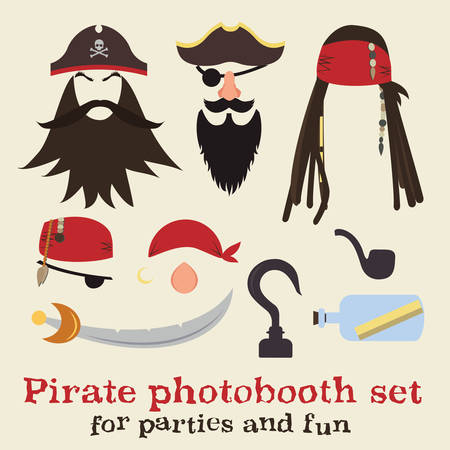 costume eye patch: Set of pirate elements.