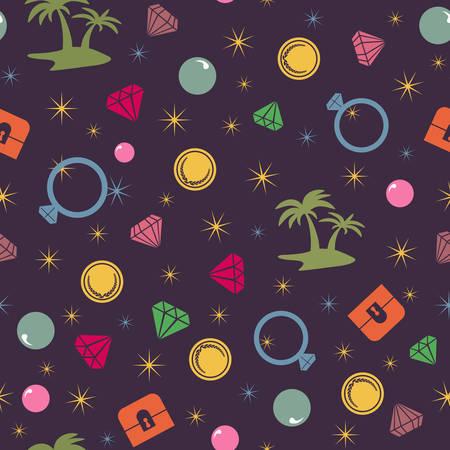 isla del tesoro: Modelo incons�til de la isla del tesoro colorido, tema del pirata. Vector de fondo con el pecho de tesoro, isla, palmas, perlas, diamantes y monedas Vectores