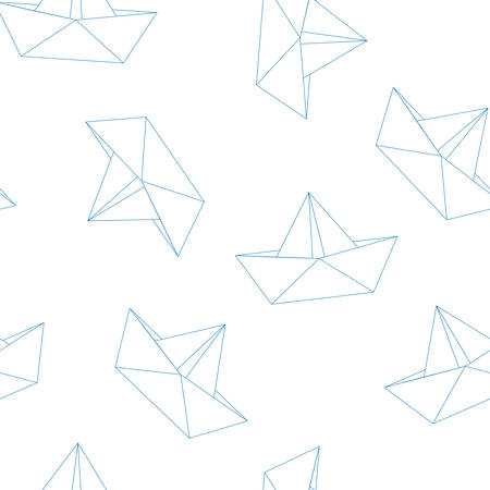 origami paper: Origami paper boats or ships pattern. Sea theme. Seamless backgrounds collection. Vector illustration.