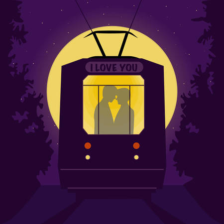 gay couple: Gay couple in the tram at night. Romantic background - full moon and stars. Vector illustration with organized layers. Illustration