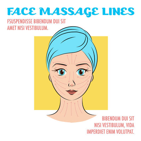 female face closeup: Vector illustration: closeup female portrait with face massage lines and directions. Cute and lovely woman face with hand drawn effect. Infographic scheme with headers.