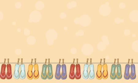 playa Flip flops verano colorido inconsútil de la frontera. Fondo brillante sandalias positivos para el negocio turístico, álbum de recortes y embalaje, de la ropa. Ilustración de vector
