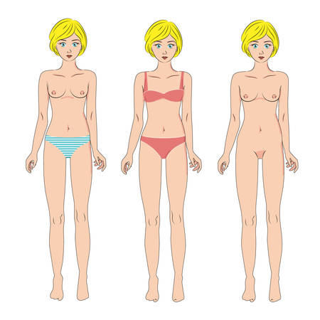 nude model: Vector set of three beautiful women in panties, swimwear and naked. Standing full body, front, isolated on white. Female body in good shape. Illustration for medicine or cosmetology infographic and design. Cute cartoon style, vivid palette.