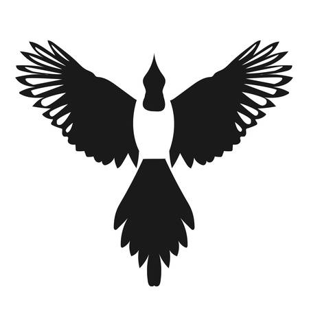 spread wings: Silhouette of a flying magpie bird, front view with spread wings. Simple vector contour isolated on white background. Graphic magpie icon. Illustration