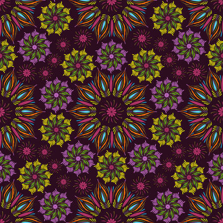 tibetan: Seamless vector mandala pattern. Vintage decorative elements in boho style. Indian, tibetan, ottoman motifs.